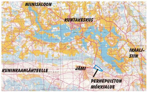 Indeksikartta Perhepuiston mökkialueen sijainnista Jämijärvellä